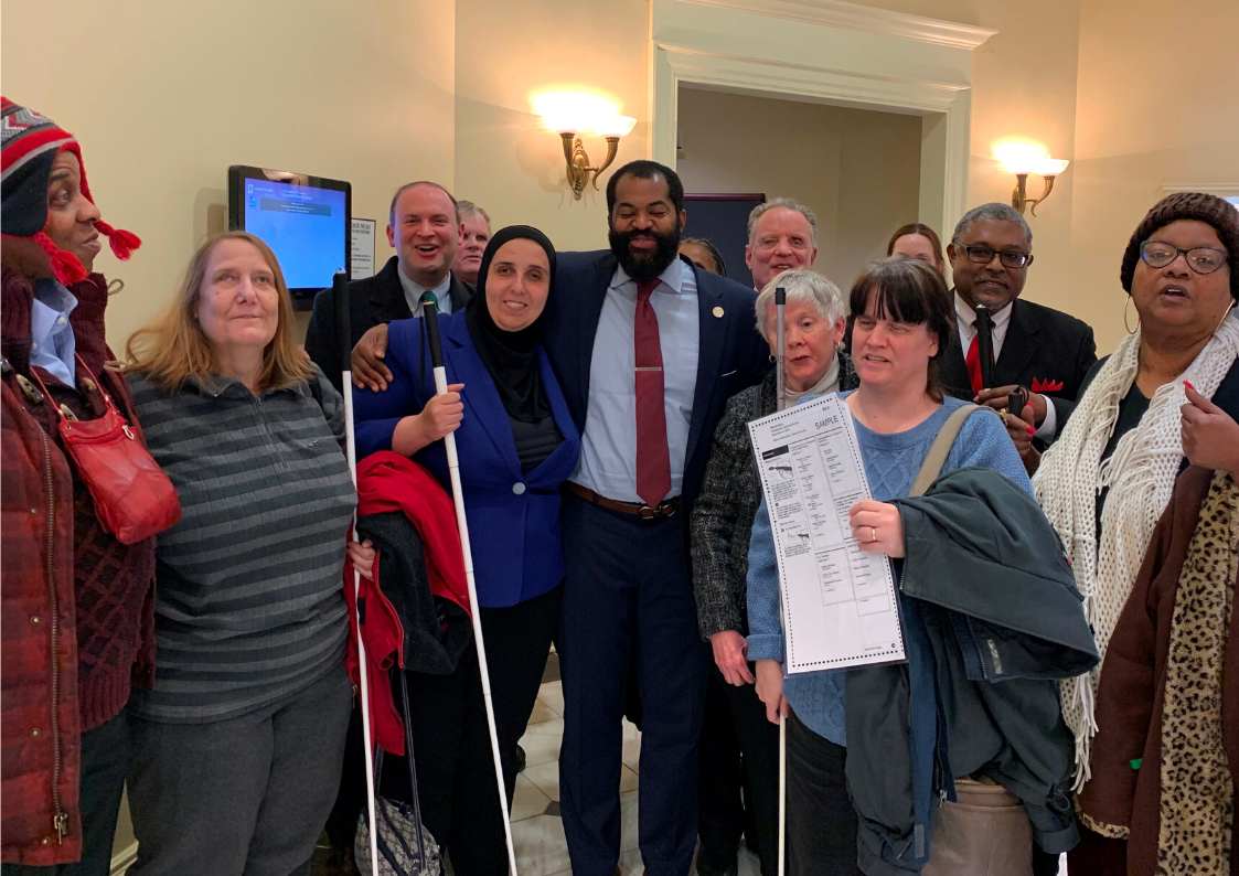 NFBMD engaged in legislative advocacy in Annapolis with Delegate Mosby fighting for desegregated voting based on disability