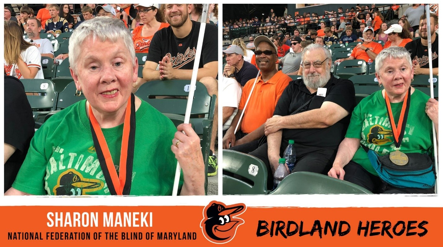 Sharon Maneki (shown on left) was recognized by the Baltimore Orioles with the Birdland Hero Community Service Award on June 29, 2018.  Right photo shows Anil Lewis, Richard Scalzo and Sharon Maneki as they cheer the Orioles playing the L.A. Angels on June 29, 2018.